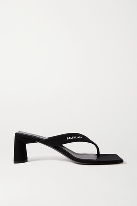 Balenciaga Logo-print Jersey Sandals - Black
