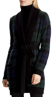 Ralph Lauren Plaid Shawl-Collar Wrap Cardigan