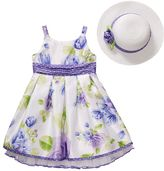 Youngland floral shantung dress and hat set - girls 4-6x