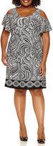MSK Short Sleeve Cold Shoulder Knit Sheath Dress-Plus