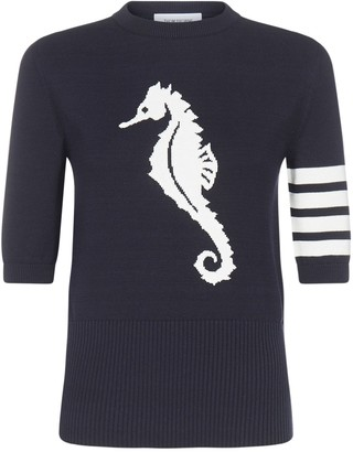 Thom Browne Seahorse Intarsia Knitted Top