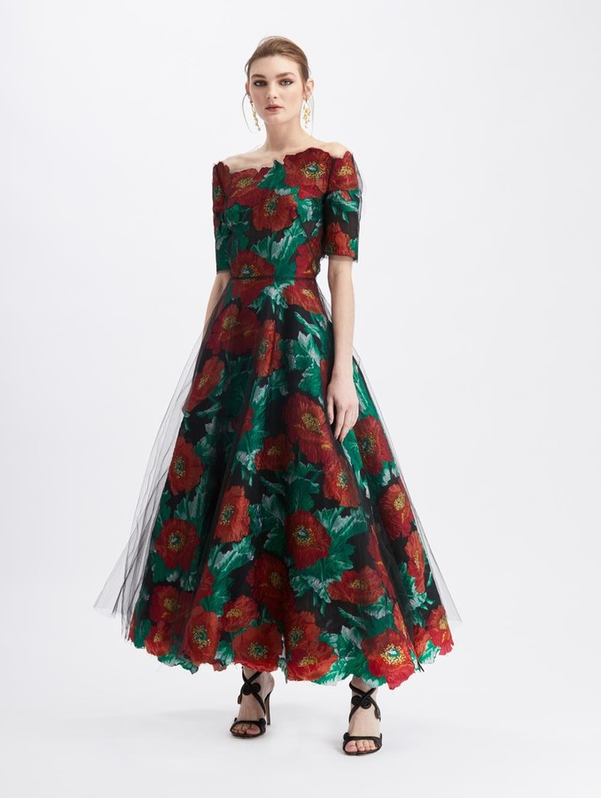 Oscar de la Renta Vintage Poppy Fil Coupe Illusion Tulle Cocktail Dress