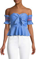 Red Carter Off-The-Shoulder Bow-Front Crop Blouse