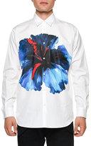 DSQUARED2 Oversized Flower-Print Long-Sleeve Sport Shirt, White