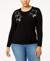 INC International Concepts Anna Sui Loves Plus Size Embellished Sweater, Created for Macy's