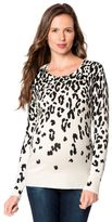 A Pea in the Pod Long Sleeve Leopard Print Cashmere Maternity Sweater