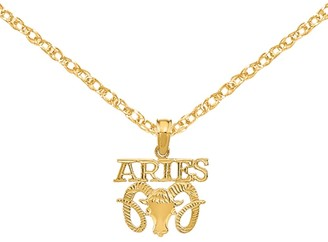 14K Yellow Gold Engraved Block Aries Charm with 18-inch Cable Rope Chain by Versil
