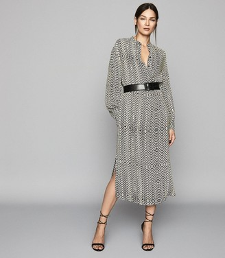 Reiss Mellie - Bead Print Midi Dress in Neutral