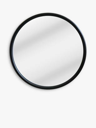 John Lewis & Partners Wooden Curved Edge Round Wall Mirror, 100cm, Black