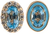 Alison Lou Diamond, topaz, enamel & yellow-gold earrings