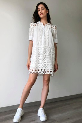 Nasty Gal Womens Hold On to Your Lace Fronts Shirt Dress - White - L/XL