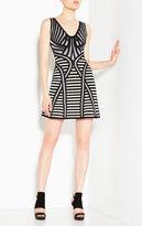 Herve Leger Milana Stripe Lacing Detail Dress