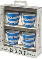 Kaleidoscope Set of 4 Blue & White Stripe Egg Cup Pails