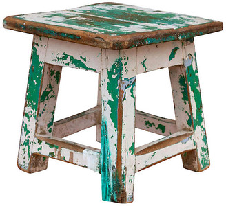 One Kings Lane Vintage Verde Petite Stool - de-cor - green/white