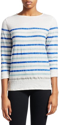 Majestic Filatures Striped Stretch-Linen Top