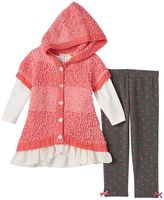 Little Lass Baby Girl Chenille Sweater Vest & Leggings Set
