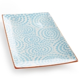 Certified International Chelsea Collection Aqua Swirl Rectangular Platter