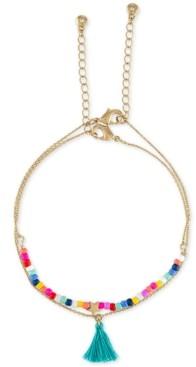 Rachel Roy Gold-Tone Multicolor Bead Tassel Anklet