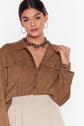 Nasty Gal Womens Record-uroy Label Button-Down Cropped Shirt - brown - 8