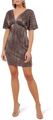 ASTR the Label Metallic Plunge Neck Mini Dress