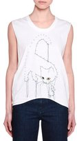 Stella McCartney Sleeveless Connect-the-Dots Cat Top, Pure White