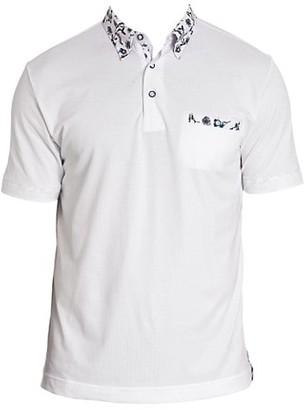 Robert Graham Floral-Trim Polo Shirt