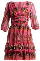 Dolce & Gabbana Butterfly-print Silk-chiffon Mini Dress - Womens - Pink Print