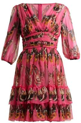Dolce & Gabbana Butterfly-print Silk-chiffon Mini Dress - Womens - Pink Print