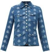 Chloé Monogram-jacquard Cotton Jacket - Womens - Blue Multi