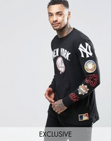 Majestic Yankees Long Sleeve T-shirt With Yankees Sleeve Print Exclusive To Asos