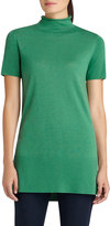 Lafayette 148 New York Short-Sleeve Funnel-Neck Tunic, Green