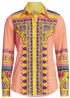 Etro Mosaic Print Cotton Button Down Shirt