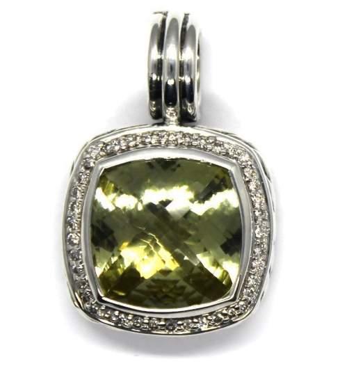 David Yurman 925 Sterling Silver with Diamond & Citrine Pendant