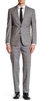 Vince Camuto Grey Plaid Two Button Notch Lapel Slim Fit Wool Suit