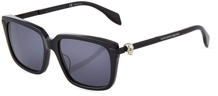 Alexander McQueen Square Acetate/Metal Sunglasses with Solid Lenses