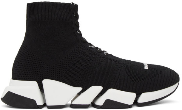 Balenciaga Black and White Speed 2.0 Lace-Up Sneakers