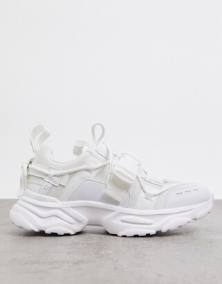 ASOS DESIGN Distract chunky lace up trainers in white