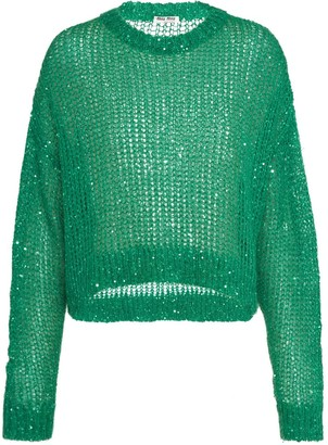 Miu Miu Sequin-Embellished Mesh-Knit Jumper
