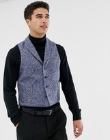 Asos Slim Suit Vest In Blue Flecked Wool Blend