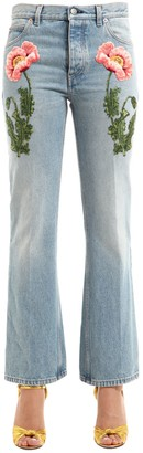 Gucci Flared Floral Patches Denim Jeans