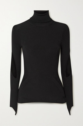 Thierry Mugler Cutout Ribbed-knit Turtleneck Sweater - Black