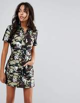 House of Holland Fitted Shirt Dress in Camo Print