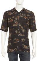Burma Bibas Tiki-Print Silk Shirt, Black