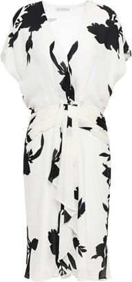 Joie Ashleena Draped Floral-print Silk-chiffon Mini Dress