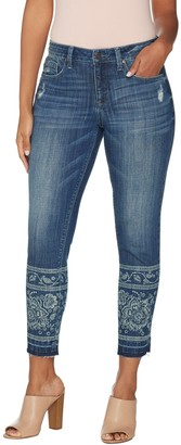 Laurie Felt Classic Denim Printed Stiletto Jeans with Drop Hem