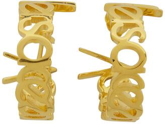 Versace Gold Logo Small Hoop Earrings