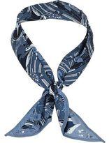 River Island Mens Blue fish print neck scarf