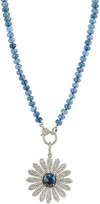 Sheryl Lowe Aquamarine & Pave Diamond Daisy Necklace