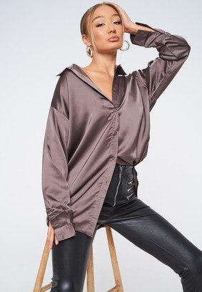 Missguided Tall Brown Satin Oversized Shirt