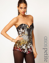 Asos Exclusive Playsuit In Multi Sequins With Deep Plunge